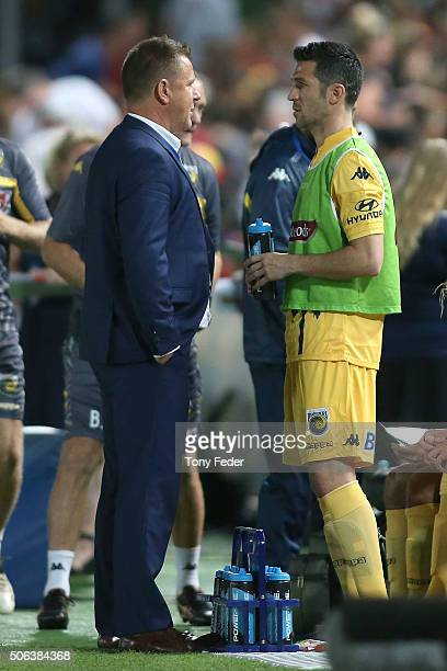 Luis Garcia of the Mariners talks to coach Tony Walmsley during the round 16 ALeague match between the Central Coast Mariners and the Western Sydney...