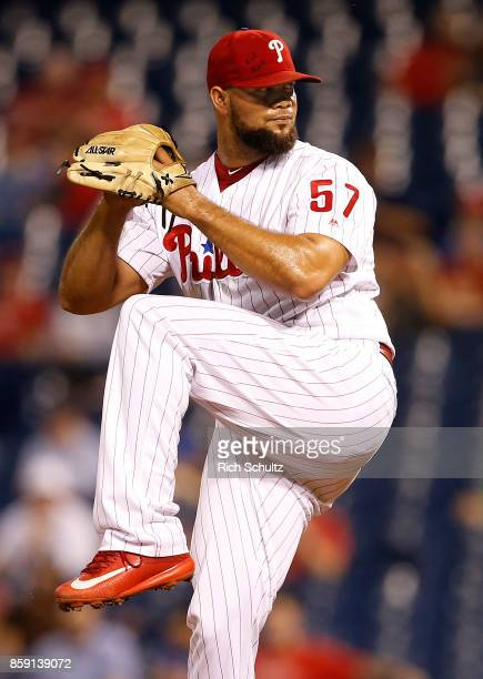 Luis Garcia of the Philadelphia Phillies in action against the Washington Nationals during a game at Citizens Bank Park on September 26 2017 in...