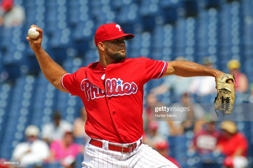 Luis Garcia #57 of the Philadelphia Phillies throws a pitch in the ninth inning during a game against the St. Louis Cardinals at Citizens Bank Park on June 22, 2017 in Philadelphia, Pennsylvania. The Phillies won 5-1.