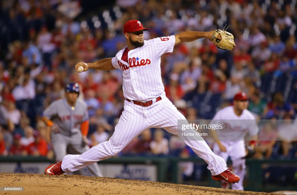 Luis Garcia #57 of the Philadelphia Phillies throws a pitch in the ninth inning during a game against the New York Mets at Citizens Bank Park on August 12, 2017 in Philadelphia, Pennsylvania. The Phillies won 3-1.