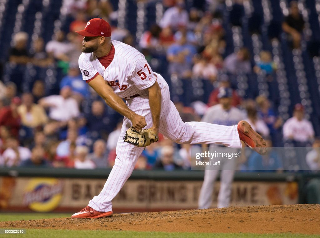 Luis Garcia #57 of the Philadelphia Phillies throws a pitch in the top of the eighth inning against the Los Angeles Dodgers at Citizens Bank Park on September 20, 2017 in Philadelphia, Pennsylvania. The Phillies defeated the Dodgers 7-5.