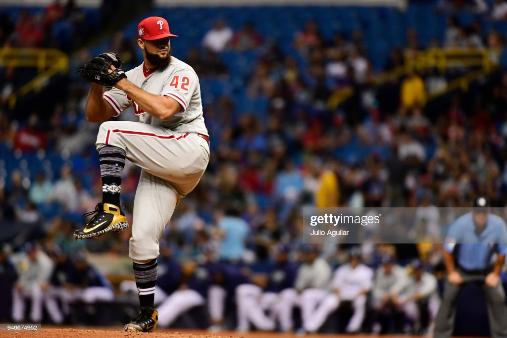 Luis Garcia #57 of the Philadelphia Phillies winds up for a pitch during the seventh inning against the Tampa Bay Rays on April 15, 2018 at Tropicana Field in St Petersburg, Florida. All players are wearing #42 in honor of Jackie Robinson Day.