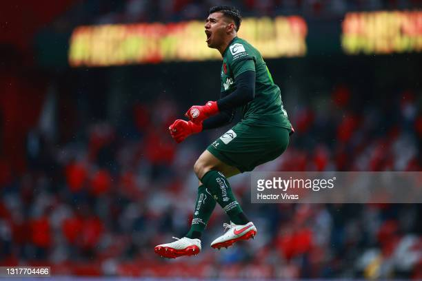 Luis Garcia of Toluca celebrates after the first goal of his team during the quarterfinals first leg match between Toluca and Cruz Azul as part of...