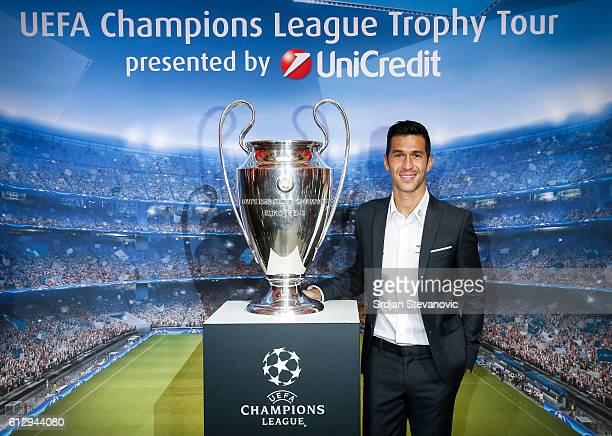 Luis Garcia pose with the trophy during the UEFA Champions League Trophy Tour by UniCredit press conference at City Hall on October 6 2016 in...