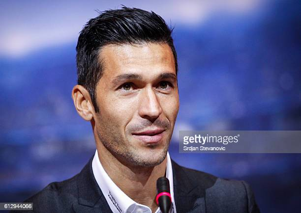 Luis Garcia speaks during the UEFA Champions League Trophy Tour by UniCredit press conference at City Hall on October 6 2016 in Sarajevo Bosnia and...