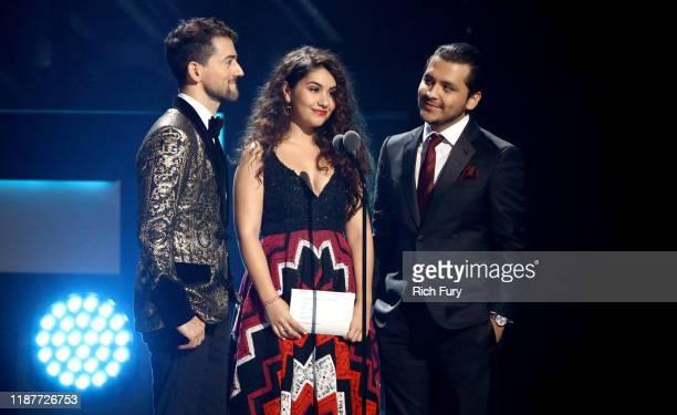 Luis Gerardo Méndez Alessia Cara and Cristian Nodal announce the Tropical Fusion Album Award winner during the 20th annual Latin GRAMMY Awards at MGM...