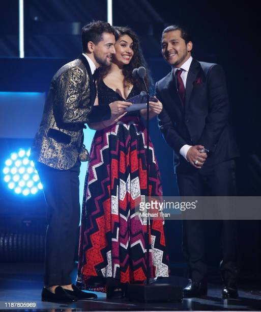 Luis Gerardo Méndez Alessia Cara and Cristian Nodal speak onstage during the 20th Annual Latin GRAMMY Awards held at MGM Grand Garden Arena on...