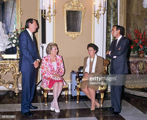 "Luis Gomez Acebo his wife the Princess Pilar of Borbon the Princess Margarita of Borbon her husband Carlos Zurita at the ""Palacio de la Granja""..."