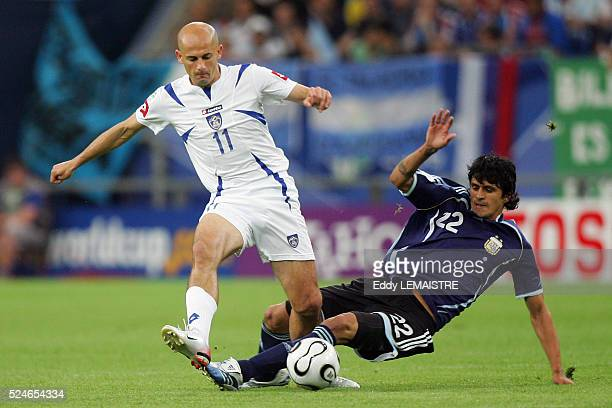 Luis Gonzalez and Predrag Djordjevic during the group C match of the 2006 FIFA World Cup between Argentina and SerbiaMontenegro