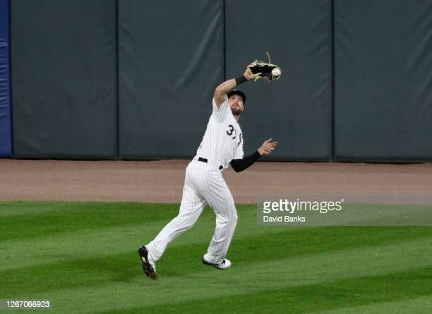 Luis Gonzalez of Chicago White Sox makes an error on ball off the bat of JaCoby Jones of the Detroit Tigers during the eighth inning on August 18...