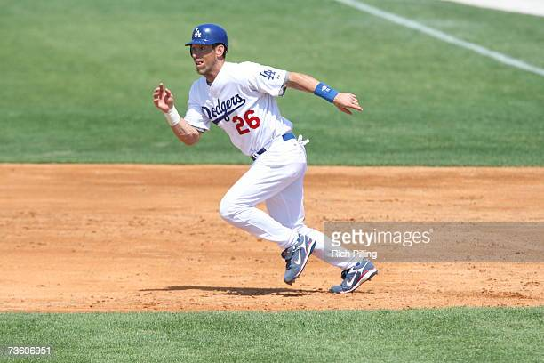 Luis Gonzalez of the Los Angeles Dodgers runs during the game against the Detroit Tigers at Holman Stadium in Vero Beach, Florida on March 13, 2007....