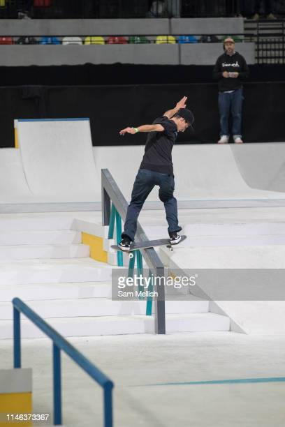 Luis Gonzalez Ortiz, Columbia, during the mens quarter finals of the Street League Skateboarding World Tour Event at Queen Elizabeth Olympic Park on...