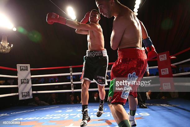 Luis Grajeda fights Said el Harrak in a junior middleweight bout during the B Riley Co and Sugar Ray Leonard Foundation's 5th Annual Big Fighters Big...