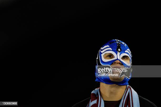 Luis Guigon wears a Lucha Libre mask in support of the Colorado Rapids as they face the Columbus Crew at Dick's Sporting Goods Park on October 27...