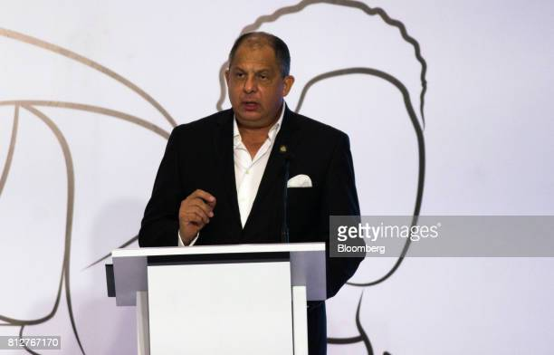 Luis Guillermo Solis Costa Rica's president speaks during the World Coffee Producers Forum in Medellin Colombia on Tuesday July 11 2017 The World...