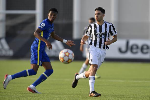 Luis Hasa of Juventus during the UEFA Youth League match between Juventus U19 and Chelsea FC U19 at Juventus Center Vinovo on September 29, 2021 in...