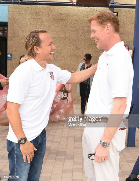 Luis Hernandez and Alexi Lalas attend Estrella Jalisco's North American Adopted Football Team Agreement Press Conference on June 6 2018 in Los...