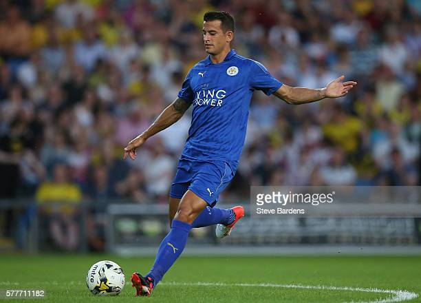 Luis Hernandez of Leicester City in action during a preseason friendly between Oxford United and Leicester City at Kassam Stadium on July 19 2016 in...