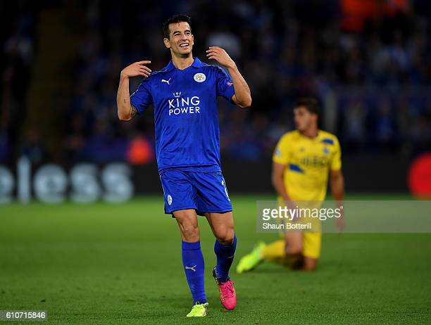 Luis Hernandez of Leicester City reacts during the UEFA Champions League Group G match between Leicester City FC and FC Porto at The King Power...