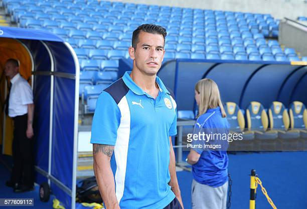 Luis Hernandez Rodriguez of Leicester City arrives at Kassam Stadium ahead of the pre season friendly between Oxford United and Leicester City at...