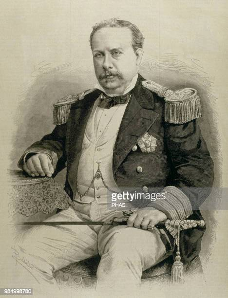 """Luis I . King of Portugal and the Algarves from 1861 to 1889. Portrait. Engraving. """"La Ilustracion Espanola y Americana"""", 1881."""