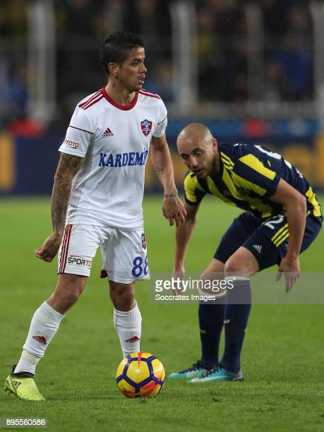 Luis Ibanez of Karabukspor Aatif Chahechouhe of Fenerbahce during the Turkish Super lig match between Fenerbahce v Karabukspor at the Sukru...