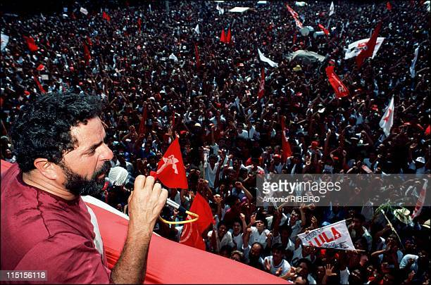Luis Inacio Lula da Silva candidate of the leftwing Workers' Party at Presidential elections in Brazil in 1989 Meeting for presidential elections in...