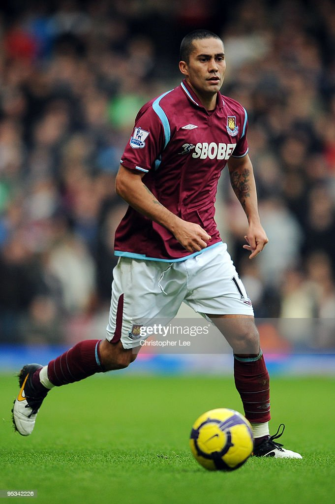 Luis Jimenez of West Ham United in action during the Barclays Premier League match between West Ham United and Portsmouth at Boleyn Ground on December 26, 2009 in London, England.