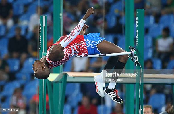 Luis Joel Castro of Puerto Rico competes in the Men's High Jump on day 11 of the Rio 2016 Olympic Games at Olympic Stadium on August 16 2016 in Rio...