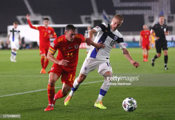 Luis Jose Gaya of Spain battles for possession with Jere Uronen of Finland during the UEFA Nations League group stage match between Finland and Wales...