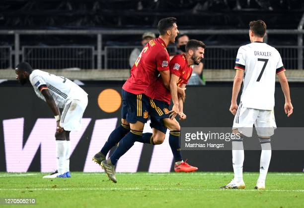 Luis Jose Gaya of Spain celebrates with teammates after scoring his team's first goal during the UEFA Nations League group stage match between...