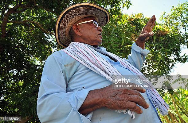 Luis Jose Pimienta speaks during an interview with AFP at his farm near the town of Chibolo Magdalena department Colombia on August 28 2014 Pimienta...