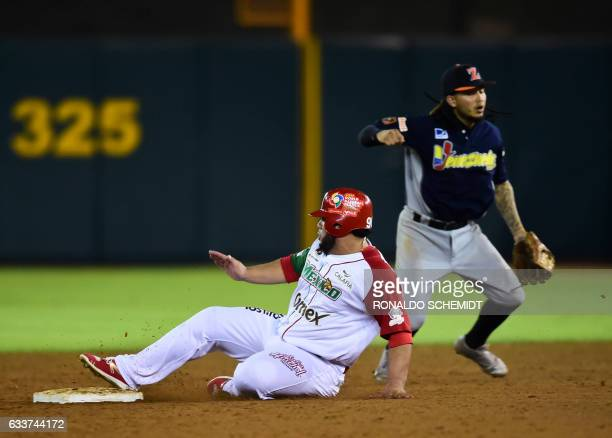 Luis Juarez of Aguilas de Mexicali from Mexico slides safely into second base against Aguilas del Zulia from Venezuela during their Caribbean...