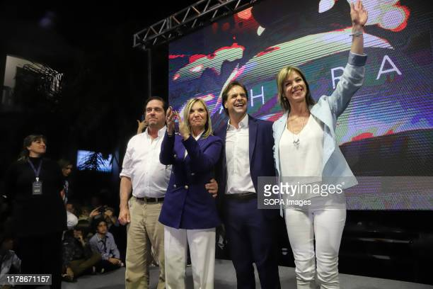 Luis Lacalle Pou, presidential candidate for the National Party and Beatriz Argimon vice presidential candidate are seen before the elections. The...