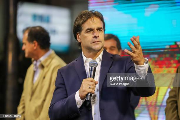 Luis Lacalle Pou, presidential candidate for the National Party addresses his supporters in Montevideo. This Sunday the Uruguayans voted for the...