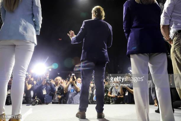 Luis Lacalle Pou, presidential candidate for the National Party speaks to his supporters before the elections. The National party and the Frente...