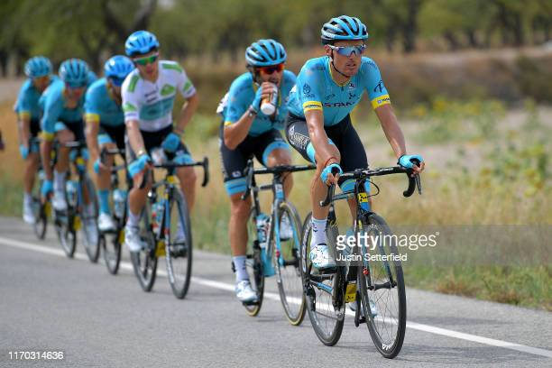 Luis León Sánchez of Spain and Astana Pro Team / Manuele Boaro of Italy and Astana Pro Team / Miguel Angel Lopez of Colombia and Astana Pro Team...