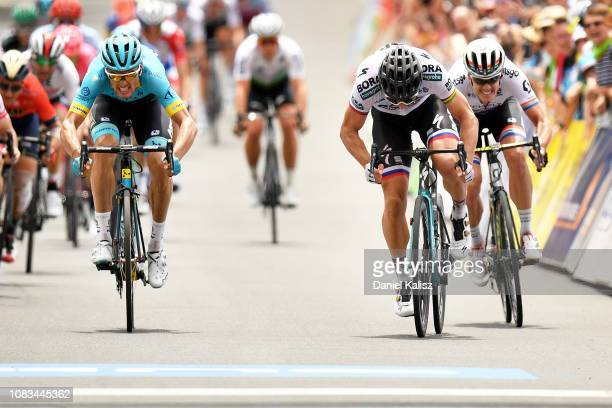Luis León Sánchez of Spain and Astana Pro Team , Peter Sagan of Slovakia and Team Bora-Hansgrohe and Daryl Impey of South Africa and Team...
