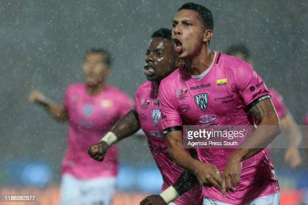 Luis Leon of Independiente del Valle celebrates after scoring the first goal of his team during the final of Copa CONMEBOL Sudamericana 2019 between...