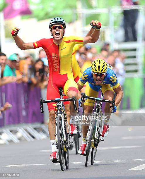 Luis Leon Sanchez Gil of Spain celebrates winning the Men's Road Race during day eight of the Baku 2015 European Games at Freedom Square on June 21,...