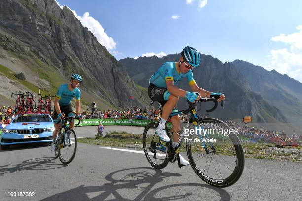 Luis Leon Sanchez of Spain and Astana Pro Team / Hugo Houle of Canada and Astana Pro Team / Col de Tourmalet / Mountains / Fans / Public / during the...
