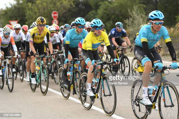 Luis Leon Sanchez of Spain and Astana Pro Team / Ion Izaguirre of Spain and Astana Pro Team Yellow Leader Jersey /Pello Bilbao of Spain and Astana...