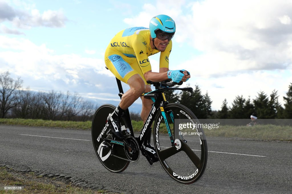 Luis Leon Sanchez of Spain and Astana Pro Team Yellow Jersey Leader during the 76th Paris - Nice 2018 / Stage 4 an Individual Time Trial of 18,4km from La Fouillouse to Saint-Etienne on March 7, 2018 in Saint-Etienne, France.