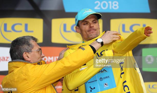 Luis Leon Sanchez of Spain and Astana Pro Team Yellow Leader Jersey celebrates on the podium during the 76th Paris - Nice 2018 / Stage 4 an...