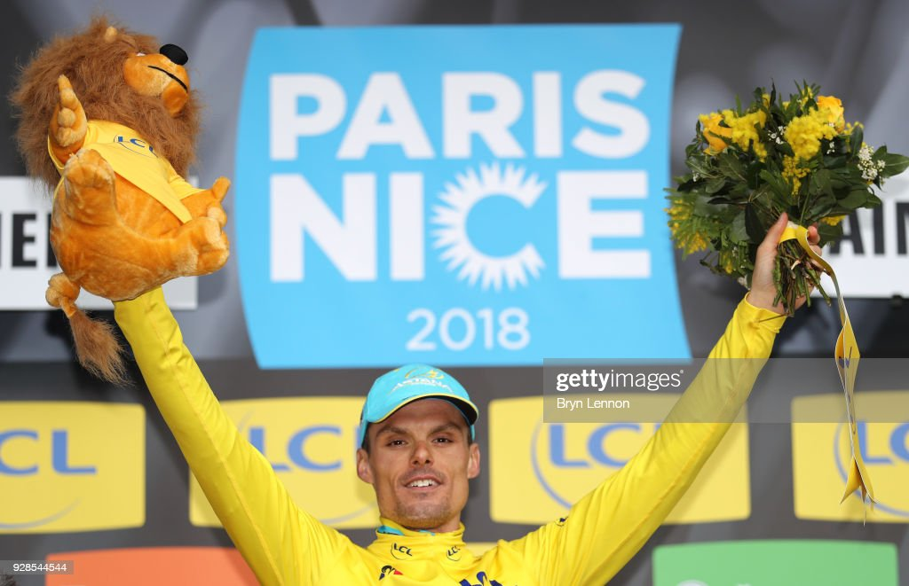 Luis Leon Sanchez of Spain and Astana Pro Team Yellow Leader Jersey celebrates on the podium during the 76th Paris - Nice 2018 / Stage 4 an Individual Time Trial of 18,4km from La Fouillouse to Saint-Etienne on March 7, 2018 in Saint-Etienne, France.