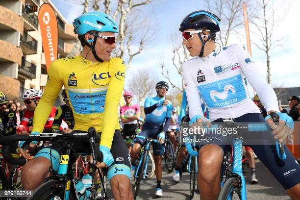 Luis Leon Sanchez of Spain and Astana Pro Team Yellow Leader Jersey and Marc Soler of Spain and Movistar Team White Best Young Rider at the start...