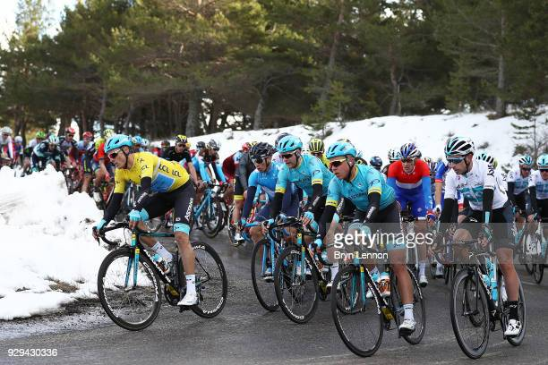 Luis Leon Sanchez Yellow Leader Jersey of Spain and Astana Pro Team / snow / Col de Lagarded'Apt on March 8 2018 in SalondeProvence France