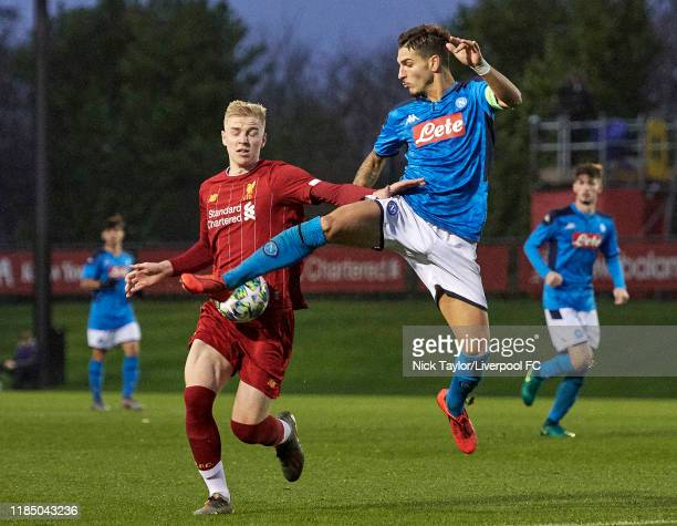 Luis Longstaff of Liverpool and Alberto Senese of Napoli in action during the UEFA Youth League game at The Kirkby Academy on November 27 2019 in...