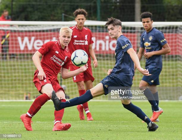 Luis Longstaff of Liverpool and Dylan Levitt of Manchester United in action during the Liverpool U18 v Manchester United U18 game at The Kirkby...