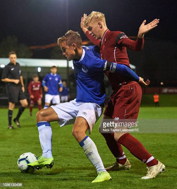 Luis Longstaff of Liverpool and Einar Iverson of Everton in action during the U18 Premier League game at The Kirkby Academy on November 1 2018 in...